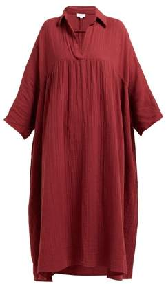Rhode Resort Leo Crinkle Cotton Gauze Dress - Womens - Burgundy