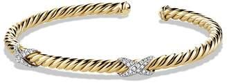 David Yurman X Bracelet with Diamonds in 18K Gold