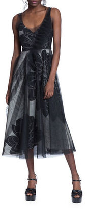Tracy Reese V-Neck A-Line Tulle Overlay Dress $398 thestylecure.com