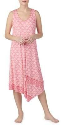 Ellen Tracy Coral-Print Sleeveless Midi Nightgown