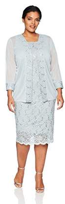 Tiana B Women's Plus Size lace Trim Jacket Dress