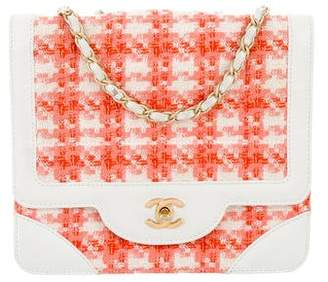 Chanel Square Quilted Tweed Single Flap Bag
