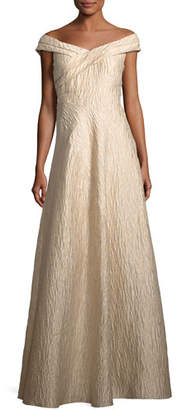 Aidan Mattox Off-the-Shoulder Jacquard A-Line Gown