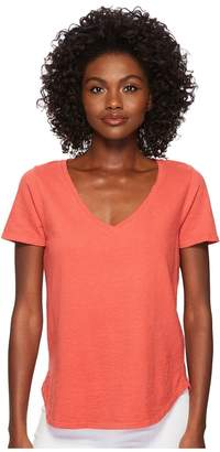 Three Dots Sueded Slub Knit V-Neck Tee Women's T Shirt