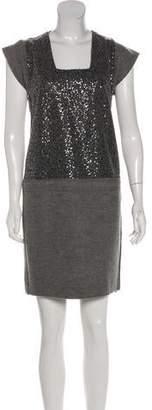 Les Copains Virgin Wool Sequin-Embellished Dress