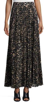 Haute Hippie Sunburst Flare Printed Maxi Skirt, Clinton Metallic Leopard