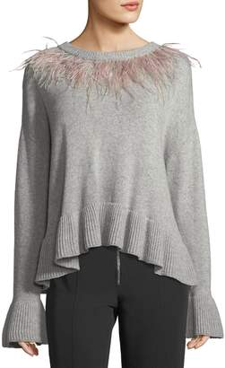 Cinq à Sept Emira Crewneck Long-Sleeve Wool Sweater
