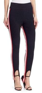 Calvin Klein Women's Rib-Knit Stirrup Leggings - Black Red White - Size Medium