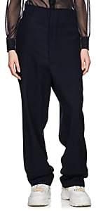 Maison Margiela Women's Distressed Wool Twill Trousers - Navy