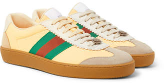 Gucci Webbing-Trimmed Leather and Suede Sneakers - Men - Yellow