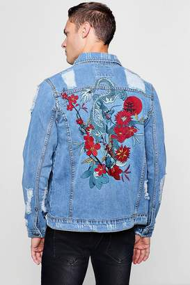 Dragon Optical Embroidery Distressed Denim Jacket