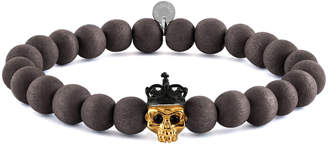 Tateossian Men's Natural Bead & Skull Bracelet, Size M