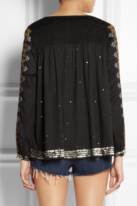 Kate Moss for Topshop Sequined embroidered voile top