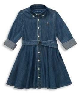 Ralph Lauren Little Girl's& Girl's Belted Denim Shirtdress