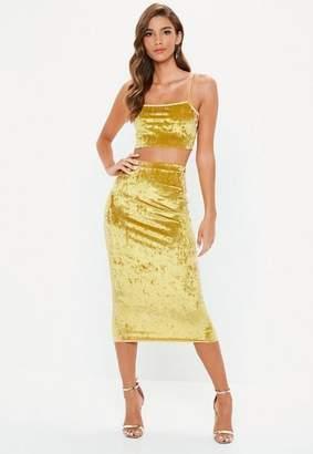 Missguided Gold Crushed Velvet Cami Top Skirt Co Ord Set