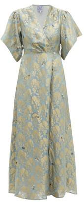 Thierry Colson Marieke Silk Floral Brocade Maxi Dress - Womens - Blue