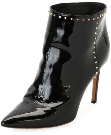 Valentino Garavani Studded Patent Ankle Boot, Black