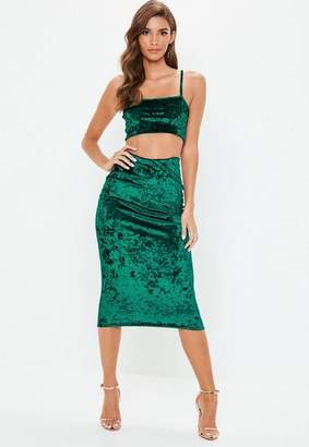 Missguided Green Crushed Velvet Cami Top Skirt Co Ord Set, Teal