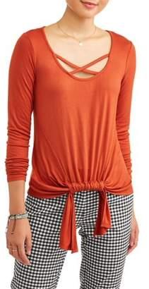 No Boundaries Juniors' Caged Neck Twist Front w/ Lace Applique Back Long Sleeve T-Shirt