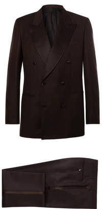 Brioni Brown Slim-Fit Double-Breasted Silk Satin-Trimmed Wool And Mohair-Blend Twill Tuxedo