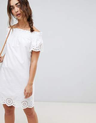 Warehouse Broderie Anglais Ruched Dress