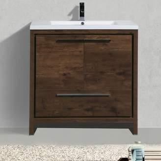 "Langley Street Almendarez Free Standing Modern 35.5"" Rectangular Single Bathroom Vanity Set"