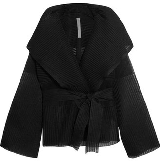 Rick Owens - Hooded Ribbed Silk-blend Jacket - Black $1,690 thestylecure.com