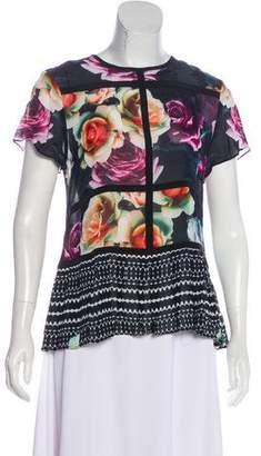Nicole Miller Floral Silk Blouse