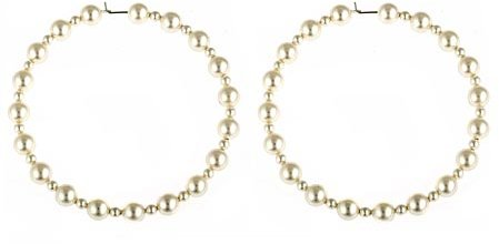 Joomi NYC Large Pearl Hoop Earrings