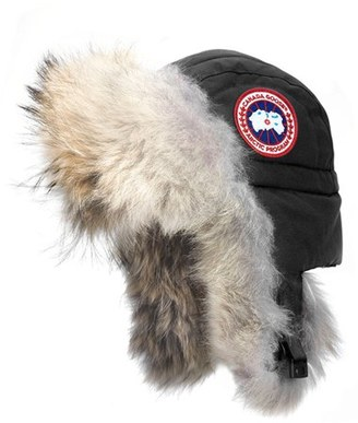 Women's Canada Goose Aviator Hat With Genuine Coyote Fur Trim $295 thestylecure.com