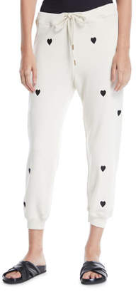 The Great Heart-Print Cropped Cotton Sweatpants