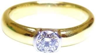 Tiffany & Co. 18K Yellow Gold Platinum Etoile Diamond Solitaire Engagement Ring