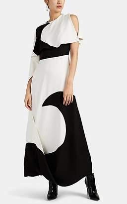 Valentino Women's Moon-Motif Draped Silk Cady Dress - White