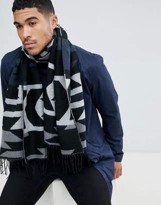 Asos DESIGN blanket scarf in navy geo-tribal print