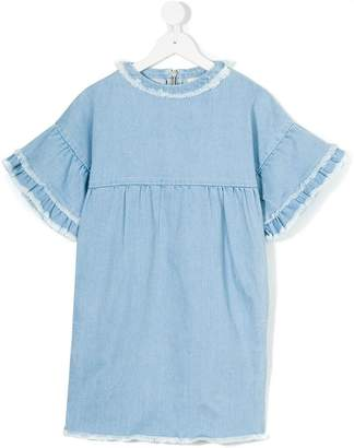 Andorine ruffle sleeve denim dress