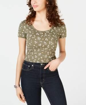 Hippie Rose Juniors' Printed Button Crop Top