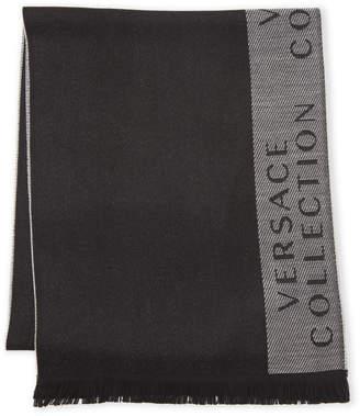 Versace Black & Grey Logo Frayed Scarf