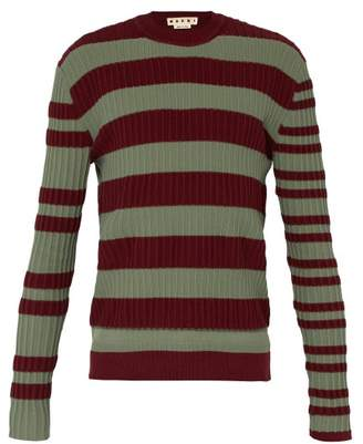 Marni Striped Ribbed Knit Sweater - Mens - Green