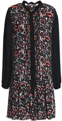 McQ Pussy-Bow Floral-Print Pleated Crepe Mini Dress