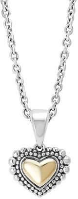 Lagos Silver & Gold Caviar Heart Pendant Necklace