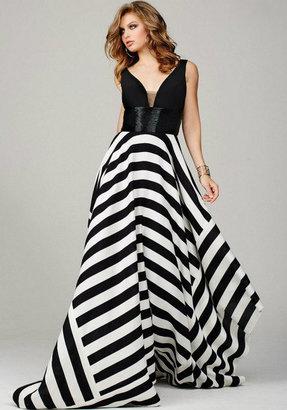 Jovani - Sleeveless Evening Gown in Asymmetrical Stripe Skirt 33959 $640 thestylecure.com