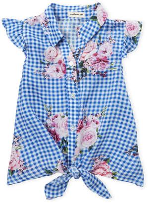 Monteau Girl (Girls 4-6x) Gingham Floral Tie-Front Shirt