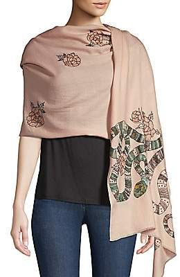 Janavi Women's Snake& Floral Embroidered Merino Wool Scarf