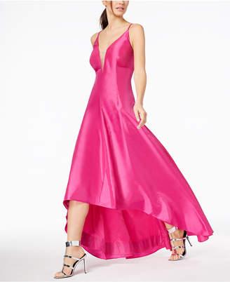Calvin Klein Taffeta Plunge High-Low Gown