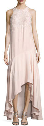 Parker Mimi Sleeveless Beaded High-Low Gown, Blush $548 thestylecure.com