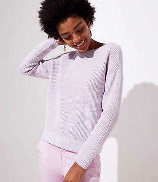LOFT Petite Stitchy Boatneck Sweater