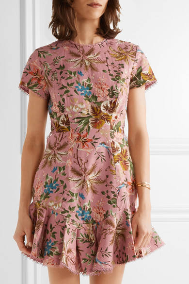 Zimmermann - Tropicale Open-back Printed Linen And Cotton-blend Mini Dress - Baby pink 3