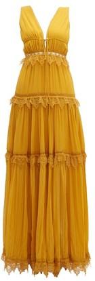 Jonathan Simkhai Lace Trimmed Tiered Silk Maxi Dress - Womens - Dark Yellow