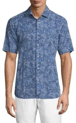 Saks Fifth Avenue COLLECTION Paisley-Print Chambray Shirt