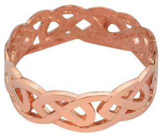 Celtic Rings Solid 14k Rose Gold Wedding Band Trinity Knot Eternity Ring for Women (13.75)